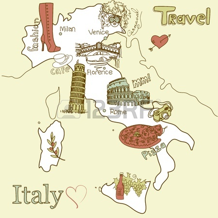 13340579-creative-map-of-italy-sightseeing-in-italy